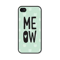 iPhone 4 Case - Meow - iPhone Cat Case - Fits iPhone 4 and iPhone 4s - Mint Green and Grey