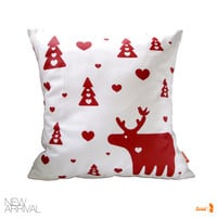 Red Print on White Moose Christmas Pillow 13 Inches Square