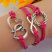 rose red bracelets, unique cute sliver jewellery infinity heart rope wax best gift lady women girl