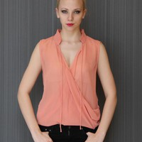 Peach Ruffle Sleeveless Blouse with Tie Collar