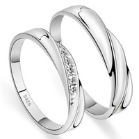 18K White Gold Plated Twist Design Couple Band Ring