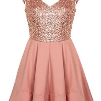 Sugared Peach Dress | Cute Sequin Cap Sleeve A-Line Dresses | Rickety Rack