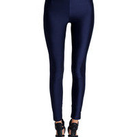 High Rise Nylon Leggings - Navy