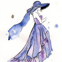 Original watercolor fashion illustration - Blue Dress