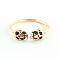 Wanderlust + Co - Double-Skull Rose Gold Ring