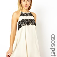 ASOS PETITE Exclusive Lace Panel Cutaway Swing Dress