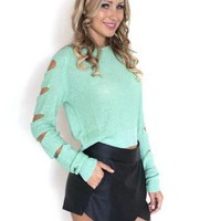 Mint Cutout Sleeve Cropped Sweater