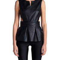 Flower Back Leather Peplum