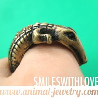 SALE Crocodile Alligator Animal Wrap Ring in Brass Size 6.5 ONLY