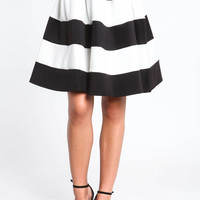 STRIPED A LINE MIDI SKIRT