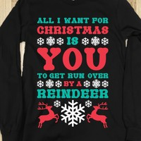 Run Over By A Reindeer-Unisex Black T-Shirt