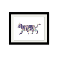 "Abstract Geometric Cat Poster. Triangles. Simple, modern, minimal. Pink and Purple. 8.5x11"" Print."