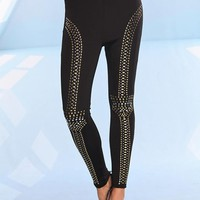 Black High Waisted Leggings with Stud Embellishment