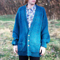Vintage Oversized Wool Grandpa Cardigan w/ Hand Sewn Elbow Patches