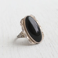 Antique Art Deco Black Glass Silver Ring - Glass Stone 1930s Size 7 1/2 Jewelry / Floral Filigree