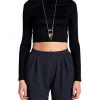 High Neck Cropped Long Sleeve - Black