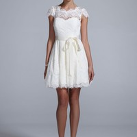 Cap Sleeve All Over Lace Dress with Ribbon - David's Bridal - mobile