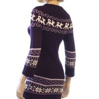 HESSI KNITTED JUNIORS DRESSES !SIZE M-L ! PURPLE ! NORWAY DESIGN W DOGS!