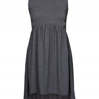 Charcoal Jersey Dip Hem Lace Detail Dress | Dresses | Desire