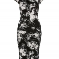 Black/White Tie Dye Short Sleeved Midi Dress | Dresses | Desire