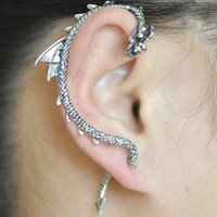 Games of Thrones Dragon Ear Cuff Flying Dragon Gothic Punk Rock Earring - Silver Tone
