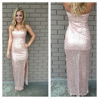 Dusty Rose Sequin Maxi Dress
