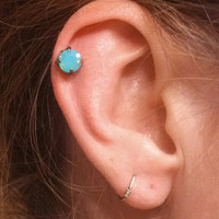 Milky Mint Green Crystal Stud Cartilage Earring Tragus Helix Piercing