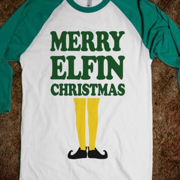 Merry Elfin Christmas-Unisex White/Evergreen T-Shirt