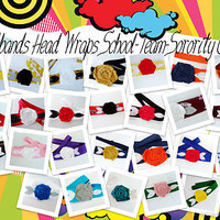 Wholesale handmade headbands, rosette head wraps, School Team Color Headbands