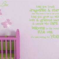 May You Touch Dragonflies & Stars... Vinyl Wall Decal