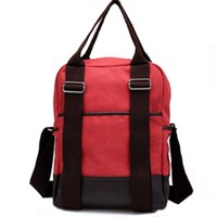 Leisure Retro Trendsetting Mixing Color Multi-function Backpack Handbag Bag