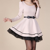 Apricot OL style long sleeve dress maxi dress casual cotton skirt lace edge dress women skirt plus size women dress skirt with belt