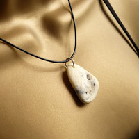 Beach Pebble Necklace on Leather Sterling Silver
