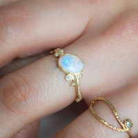 10k Gold Hammered Branch RIng with Opal & Diamond, size 6 - Dear Swallow - Brands