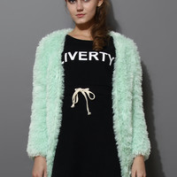Mint Faux Shearling Cardigan