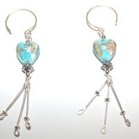 "Pierced Earrings ""Young Love"" Sterling Silver and Lampwork 1 Pair OOAK"