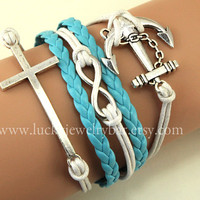 SALE-Cross bracelet, Infinity bracelet, anchor bracelet, light blue braid leather bracelet, christmas gift