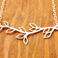 Silver Branch Necklace - branch pendant, twig necklace, tree necklace, nature jewelry, leaf necklace