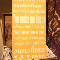 "You Are My Sunshine - Hand Painted Wood Sign - 12""x22"""