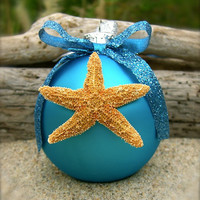 Starfish Beach Ornament-AQUA BLUE-Christmas Ornaments, Beach Weddings, Hostess Gifts, Tiffany Blue Aqua, Mermaids, Coastal Christmas, Blue