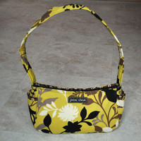 beautiful small purse, handbag -- yellow, black, brown, and ivory bird patterned, with brown and ivory patterned lining, with zipper