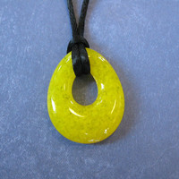 Yellow Necklace, Teardrop Pendant, Simple Jewelry - Banana Split - 4422 -3