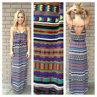 Mint & Royal Geo Print Maxi Dress