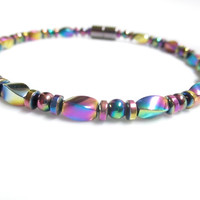 Magnetic Hematite Bracelet - Rainbow Swirl Bracelet, Anklet, Necklace, or Pet Collar