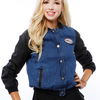 FAUX LEATHER CONTRAST VARSITY JACKET