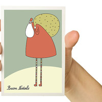 Christmas Card - Buon Natale - Merry Christmas in Italian - 5 x 7 - Santa Claus - Noel