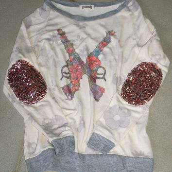 """Guns n Roses"" Sequin Elbow Patch Sweater - Love & Bambii - Women's Bohemian Fashion ☮ + ♥"