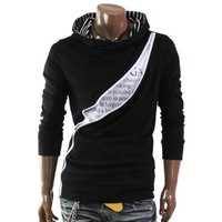 Doublju Mens Casual Unbalanced Zip-Up Hoodie(D067)