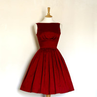 Royal Red Silk Dupion Prom Dress - Made to Meassure - FREE SHIPPING worldwide