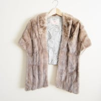 Sophisticated Mink - Vintage 50s Grey Champagne Mink Fur Shawl Jacket Hudson Bay